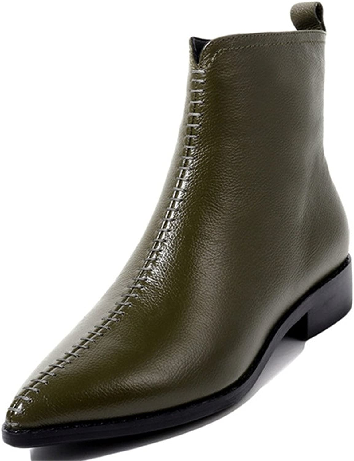 Nine Seven Genuine Leather Women's Pointed Toe Chunky Heel Side Zip Handmade Basic Designed Ankle Boots