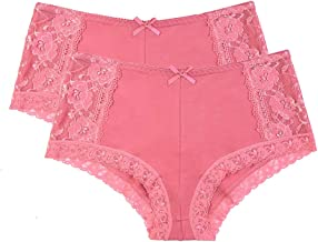 Women's Premium Cotton Lace Tummy Control Full Coverage Hipster Panty Underwear (Pack of 6 or 2)
