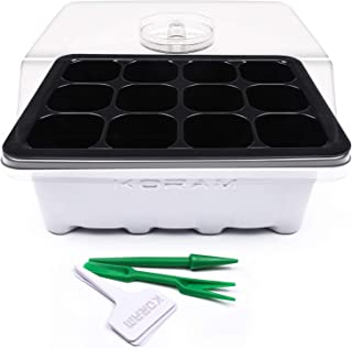 KORAM 10 Sets Seed Starter Tray 120 Cells Seed Tray Plant Germination Kit Garden Seed Starting Tray with Dome and Base Plus Plant Tags Hand Tool Kit