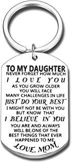 Daughter Gifts Keychain for Teen Girl Women from Mom Dad Inspirational Graduation Birthday Christmas tocking Stuffer