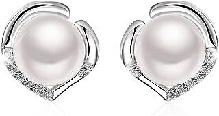 "J.Rosée Freshwater Cultured Pearl Earrings Women, 925 Sterling Silver 5A Cubic Zirconia Heart Shape Stud Earrings Pearl River"", Gift Packed"