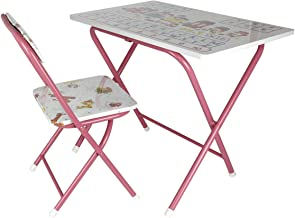 Leostar Kids Folding Study Table and Chair Set, Pink-ET-3678, Pink, H45 x W50 x D20 cm