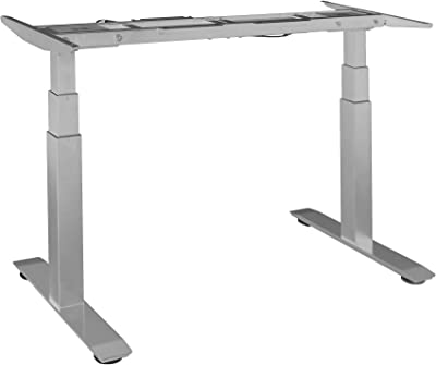 "Seville Classics Airlift S3 Electric Height Adjustable Standing Desk Frame with 4 Memory Button LCD Controller, Extendable 45"" to 62.9"" W, Gray"