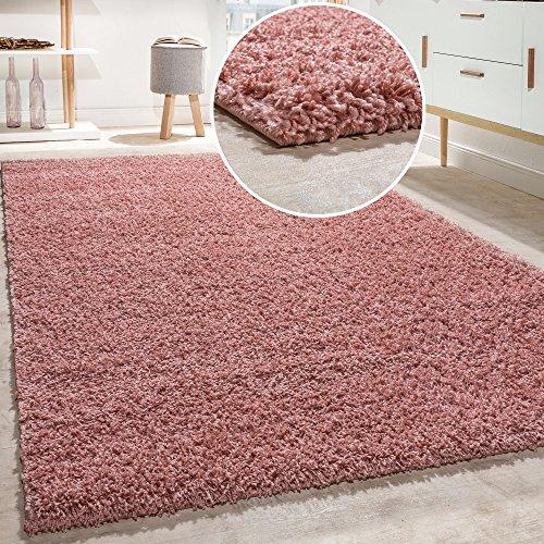 Alfombra Shaggy De Pelo Alto Y Largo Gran Espesor del Hilo En Rosa Pastel Liso, tamaño:160x220 cm
