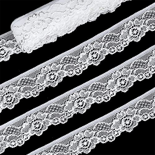 Stretch Lace Ribbon Trim, Floral White Lace Fabric by The Yard, Elastic Lace Ribbon Trim for Crafts Decorating (White 1Inch ✖ 20Yards)