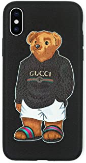 Stylish Bear Custom Fashion Protective Flexible Case/Cover/Skin Leather Finish for iPhone (Black Bear, iPhone X)