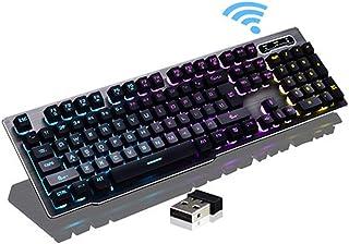 لوحة مفاتيح بإضاءة خلفية، لوحة مفاتيح لاسلكية 2.4 جيجا هرتز ذات شحن سريع معلق غطاء مفتاح مزود بإضاءة ميكانيكية لوحة مفاتيح...