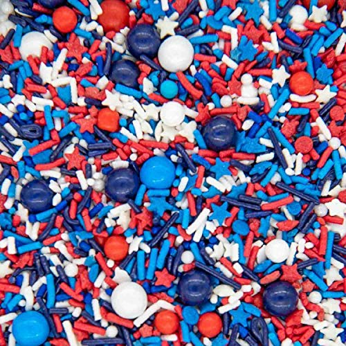 4th of July Sprinkles for Baking Cake, Cookie, Cupcake Decorating - 4th of July Cake Decorations in Red White Blue and Sprinkles with Jimmies, Nonpareils, Star Quin Patriotic Sprinkles for Cupcakes