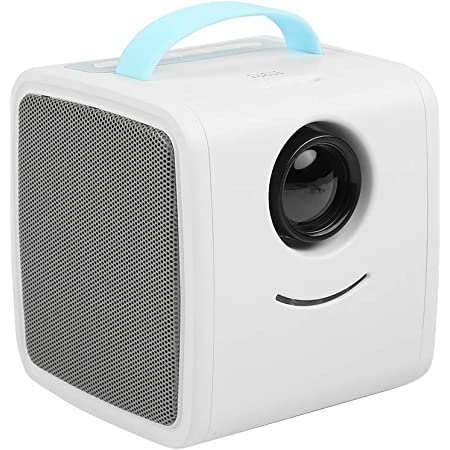 White and Yellow Mini Projector for Kids Portable LED Video Projector 30000 Hours LED Light Source Multimedia Home Theater Support HD 1080P HDMI AV USB Laptop Desktop Computer Digital Camera