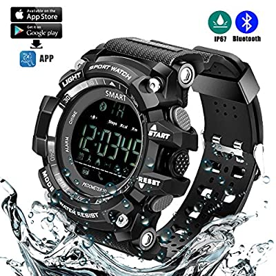 Sports Watch Bluetooth Smart Waterproof Watch without Charging Outdoor Digital Watch with APP Platform, Camera Remote Control, Fitness Tracker, Pedometer, Call Message Reminder, Alarm, Calendar BLACK