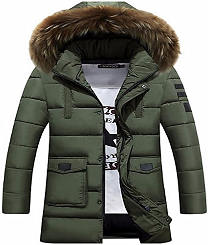 ZHUDJ Men's Padded Coat,Daily Solid-Cotton à Manches Longues Polyester