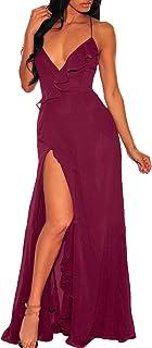 Abravo Mujer Elegantes Vestido de Ceremonia Noche Fiesta Vintage Sin Mangas Maxi Vestido Largo de Cóctel