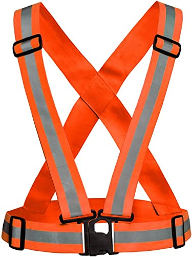 Generic orange safety reflective adjustable vest belt high visibility gear stripe