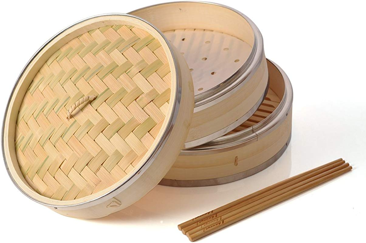 Bamboo Steamer 10 Inch Haneye 2 Tier Bamboo Steamers For Steaming Dim Sum Dumplings Buns Vegetables Meat Fish Rice Includes 2 Pairs Chopsticks And 100 Steamer Paper Liners