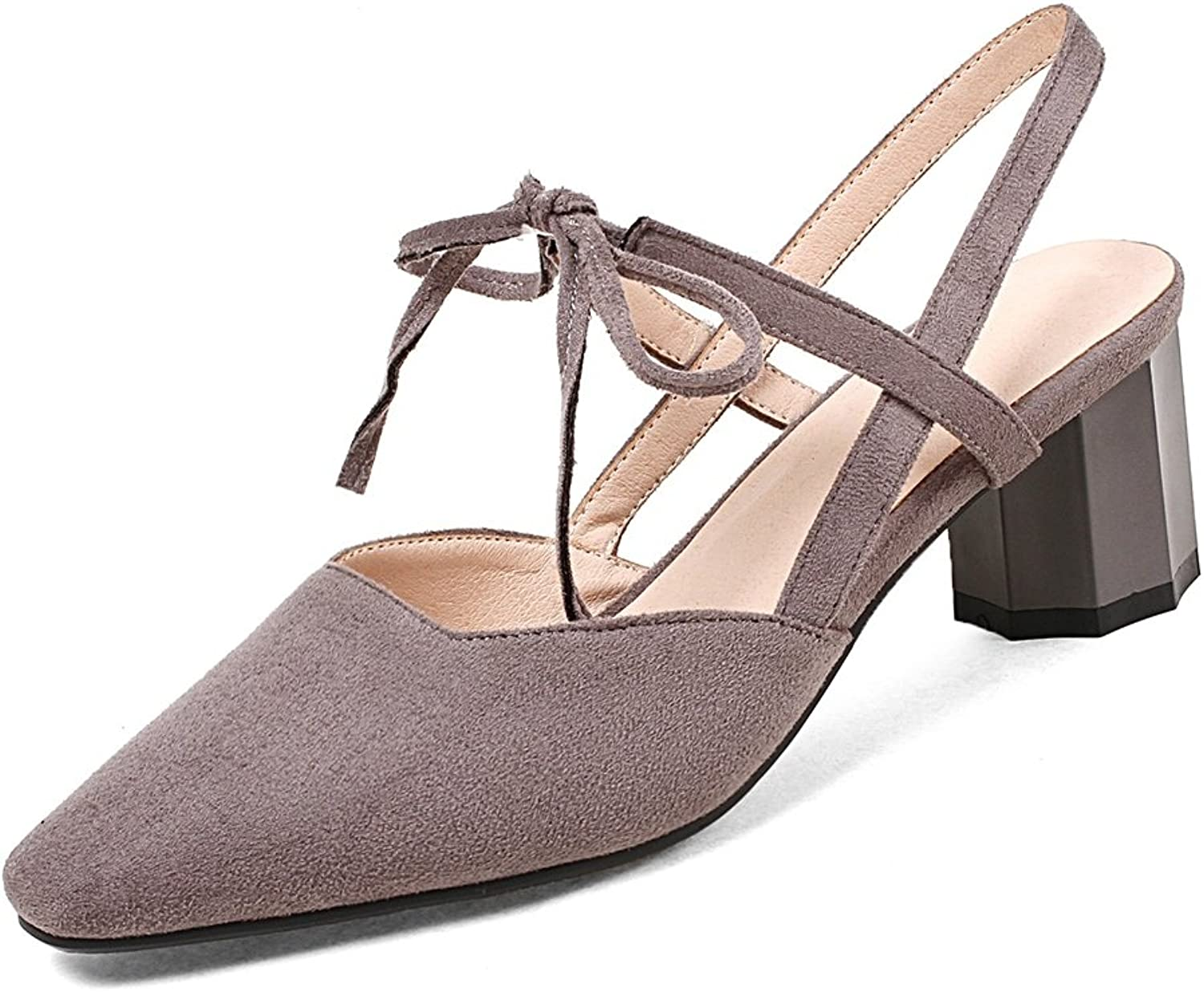 DecoStain Women's Sweet Suqare Toe Slingbacks Lace-up High Chunky Heels Working Wedding Pumps shoes