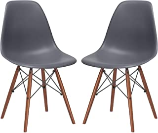 Poly and Bark Vortex Modern Mid-Century Side Chair with Wooden Walnut Legs for Kitchen, Living Room and Dining Room, Grey (Set of 2)
