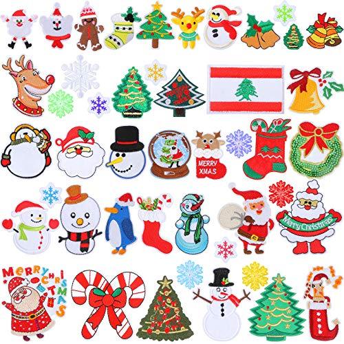 46 Pezzi Toppe Termoadesive Natalizie Adesivi Applique Ricamo Toppe Decorative da Cucire per Alberi di Natale per Abbigliamento Decorazioni Natalizie Fai Da Te