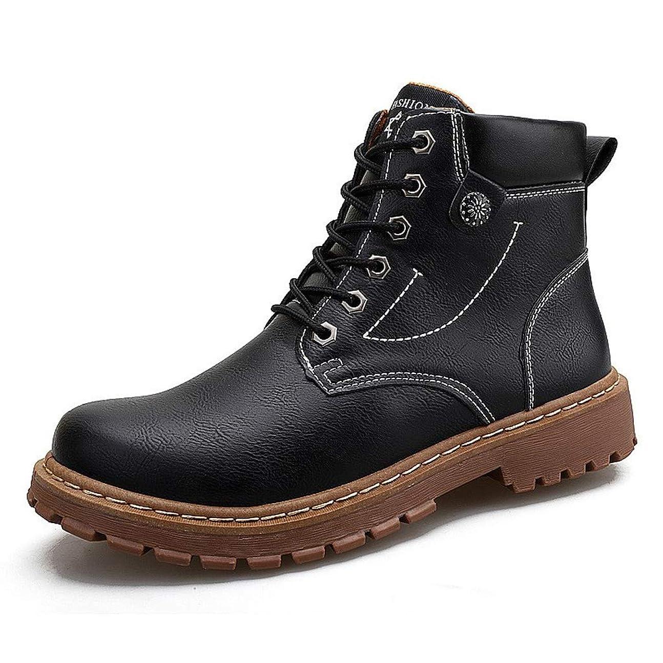 特性樹木出来事男性の半長靴のためのツーリングブーツレースアップ人工皮革ラウンドヘッド通気性消臭カジュアルアウトドアウェア用 (色 : 黒, サイズ : 24 CM)