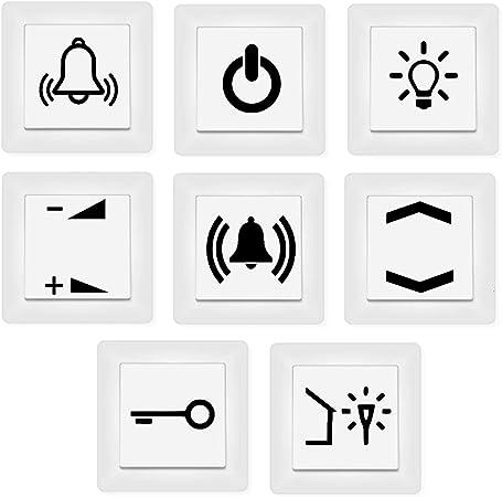 Generisch Schalter Aufkleber Schalter Beschriftung Glocke Klingel Licht Schlüssel Auf Zu 125 3 Schwarz Glanz Auto