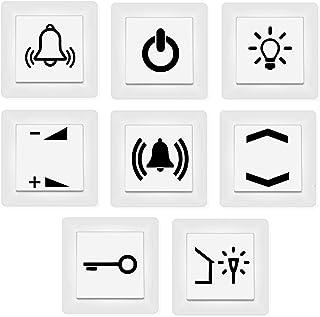 generisch Schalter Aufkleber Schalter Beschriftung Glocke Klingel Licht Schlüssel Auf zu (125/3) (schwarz Glanz)