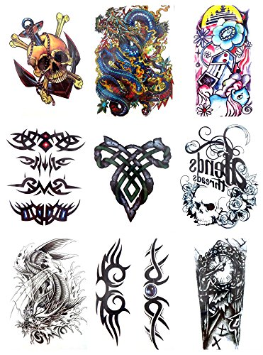 9 sheets large 8.25' temporary arm tattoo wholesale Day of Dead Halloween Sugar Skull crown