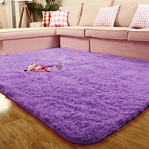 ACTCUT Ultra Soft 4.5 cm Thick Indoor Morden Shaggy Area Rugs Pads, Fashion Color [Livingroom] [Sitting-Room] [Rugs] [Blanket] [Footcloth] for Home Decorate 2.5- Feet by 5- Feet (Purple)