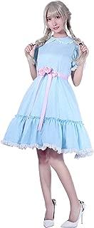Women's Girls Sweet Lolita Dress Blue Cotton Bow Puff Skirts Doll Collar Short Sleeve Costumes