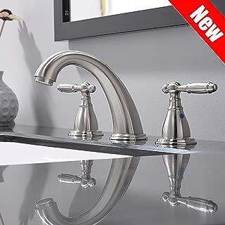 Solid Brass Brushed Nickel 2 Handle Widespread Bathroom Sink Faucet By Phiestina, Brushed Nickel 2 Handles Widespread Bathroom Faucet With Stainless Steel Pop Up Drain, WF008-4-BN