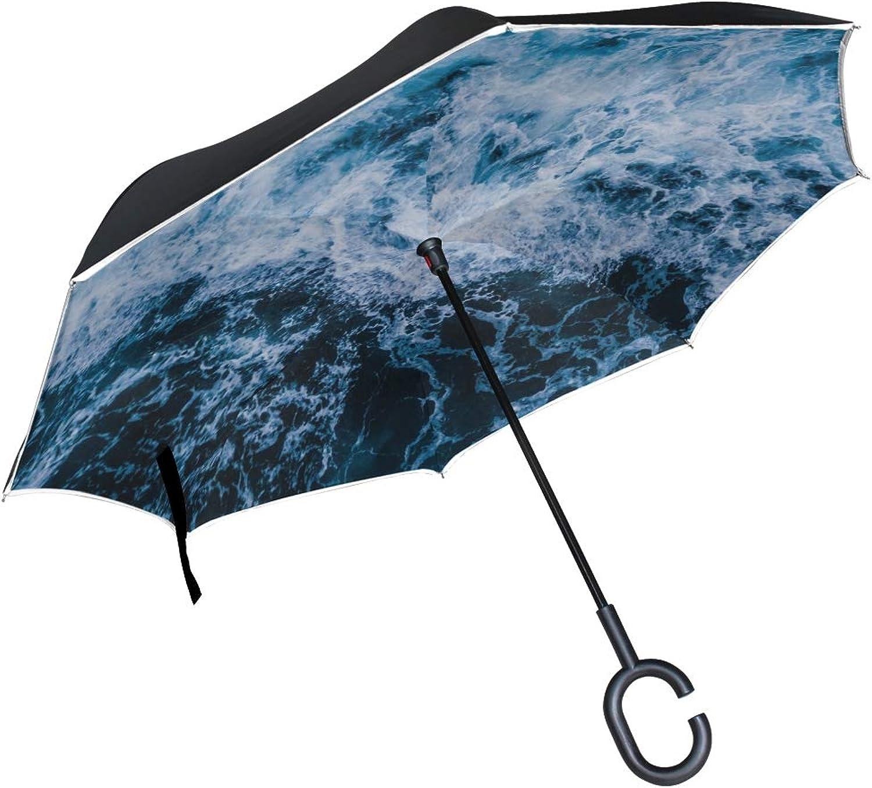 Rh Studio Ingreened Umbrella Sea Waves Foam Large Double Layer Outdoor Rain Sun Car Reversible Umbrella