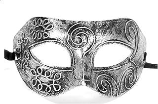 Bullidea Men's Mask Half Face Carved Halloween Eye Masks Masquerade Fancy Dress Ball(Silver)