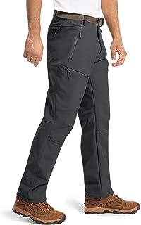 MAGCOMSEN Men's Winter Snow Pants 5 Zipper Pockets Water Resistant Fleece Lined Hiking Tactical Pants