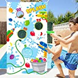 TICIAGA Toss Game Banner for Water Balloons, 4 Score Holes Shooter Target for Water Gun, Swimming Pool Fun Addition Toy for Throwing Water Bomb, Summer Splash Fun for Kids Adults, Pool Party Supplies