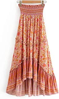 YWSZJ Vintage Chic Women Hippie Floral Print Beach High Elastic Waist Ruffles A-Line (Size : L Code)