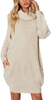705df86c3a0 Femme Loose Manches Longues Robe en Tricot Long Col Roulé Chandail Pull  Sweater Tops