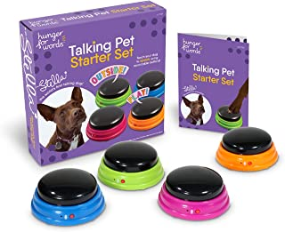 Hunger for Words Talking Pet Starter Set, Recordable Buttons for Dogs, Talking Dog Buttons, Teach Your Dog to Talk, Multic...