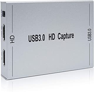 キャプチャーボード HDMI USB3.0 1080P60、ストリーミングと録画 Switch PS4 Xbox Wii U Webcam対応、遅延なしHDMIパススルー/マイク入力とオーディオ出力/HDCP、HD HDMIゲームビデオキャプチャー、 Windows 7/8/10 Mac OS対応、ライブ実況 Twitch/YouTube