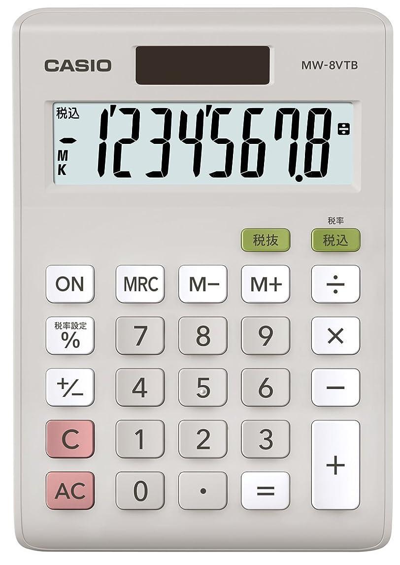 敬意オレンジ強制的カシオ スタンダード電卓 税計算 ミニジャストタイプ 8桁 MW-8VTB-N ホワイト