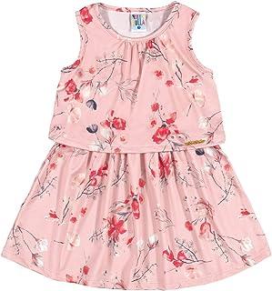 Vestido Sublimado Rosê Primeiros Passos Menina Malha Crepe 36211-714