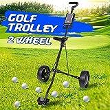 SYue Chariot de Golf Chariot Fer Noir réglable 2 Roues Chariot de Golf en Alliage d'aluminium Pliable avec Frein