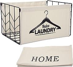 YIUSTAR Metal Fabric Foldable Storage Bins Organizer for Home, Toys, Books, Clothes, Kids Room, Closet Storage (One Basket...