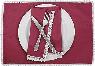 Vargottam Magenta Home Décor Reversible Table Decor White Lace Placemats Reversible Dining Mat-Set of 4