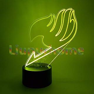 FAIRY TAIL Luces de la noche 3D Ilusión visual LED que cambia la lámpara de la luz de la novedad FAIRY TAIL Símbolo creativo Led lámpara de escritorio