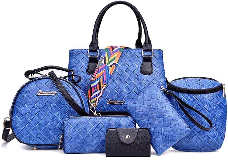 Ladies Handbag Women's Trend Woven Pattern Shoulder Bag 6 Piece Set (color   blueee, Size   One Size)