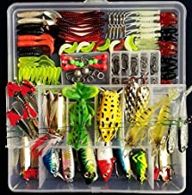 Fishing Tackle Set,PortableFun Fishing Baits Kit Lots with Free Tackle Box,for Freshwater Trout Bass Salmon