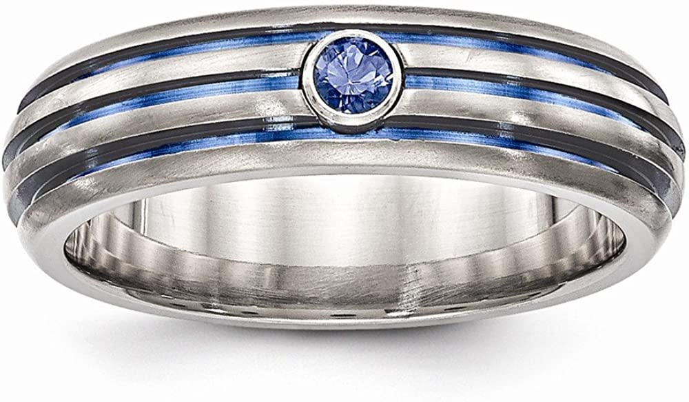 Solid Titanium Triple Groove Blue Anodized and Sapphire Blue September Gemstone Wedding Band Ring