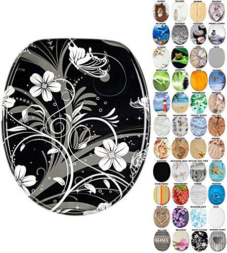WC Sitz mit Absenkautomatik, viele schöne WC Sitze zur Auswahl, hochwertige und stabile Qualität aus Holz (White Flower)