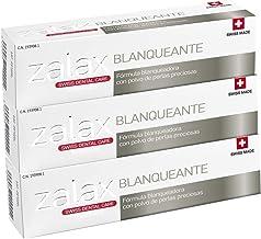 ZALAX BLANQUEANTE Pasta de dientes blanqueamiento - Ayuda a eliminar las manchas y prevenir su aparición – Pasta dental blanqueadora con polvo de perlas preciosas-100 ml (PACK DE 3)