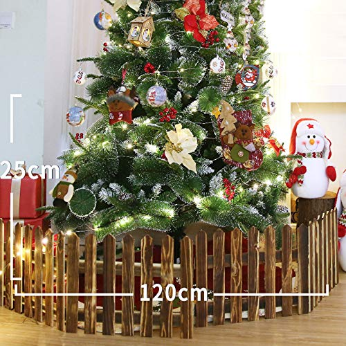 lheaio Christmas Xmas Decorative Wooden Miniature Picket Fencing Garden Border Grass Lawn Edge Fence, for Home/Christmas Tree/Wedding Party, White/Brown (Brown)