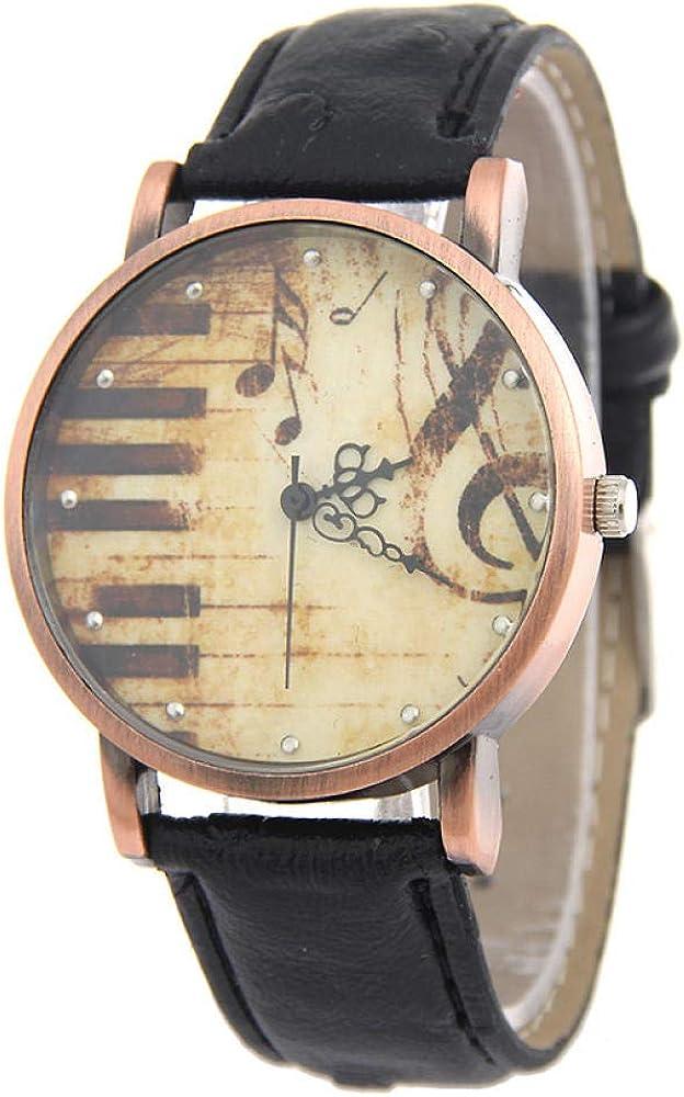 Reloj de Pulsera para Mujer Regalo Reloj de Nota de Piano Vintage Cinturón Reloj de Cuarzo Reloj de decoración de muñeca