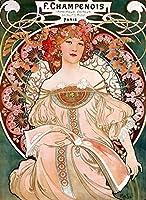 絵画風 壁紙ポスター (はがせるシール式) アルフォンス・ミュシャ 夢想 1897年 リトグラフ アールヌーヴォー キャラクロ K-MCH-015S2 (433mm×594mm) 建築用壁紙+耐候性塗料